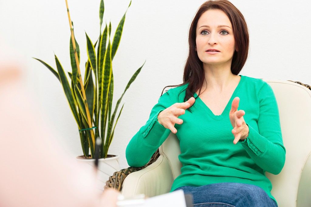 Woman In Dialectical Behavior Therapy (DBT) session